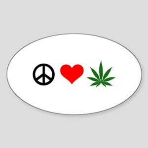 Peace Love Marijuana Sticker (Oval)
